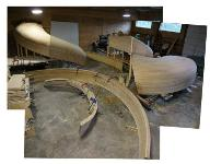 The Grand Staircase fabrication in progress at Pure Timber in Gig Harbor, Washington