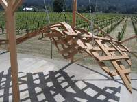 Finished bent wood trellis on location at Hall Wines